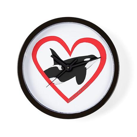 Orca Heart Wall Clock