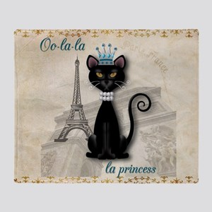 Oo-la-la French Kitty Princess Throw Blanket
