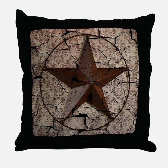 rustic texas lone star Throw Pillow