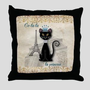 Oo-la-la French Kitty Princess Throw Pillow
