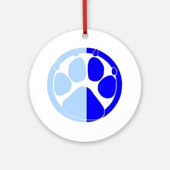 Blue Paw Print Ornament (Round)