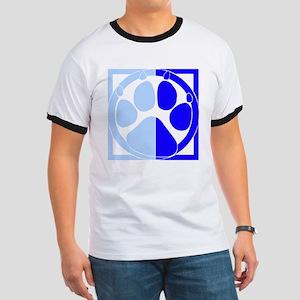 Blue Paw Print Ringer T