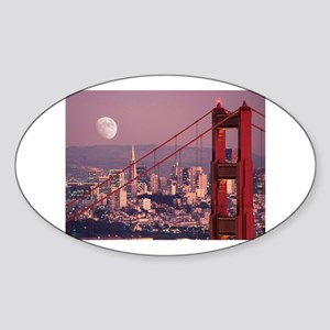 Moon Over The Gate Oval Sticker