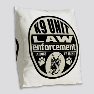 K9 In Dogs We Trust Black Burlap Throw Pillow