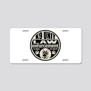 K9 In Dogs We Trust Black Aluminum License Plate
