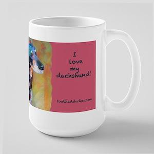 Black Dachshund Large Mugs