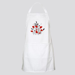 Beautiful Red Whimsical Poppies Apron