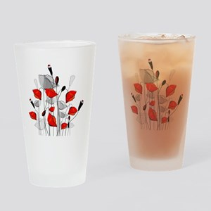 Beautiful Red Whimsical Poppies Drinking Glass