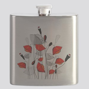 Beautiful Red Whimsical Poppies Flask