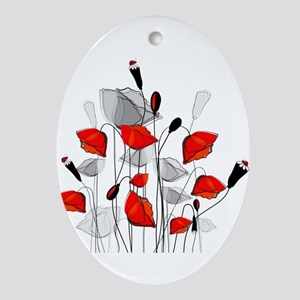 Beautiful Red Whimsical Poppies Ornament (Oval)