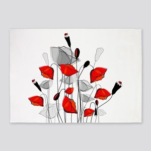 Poppy flower area rugs cafepress beautiful red whimsical poppies 5x7area rug mightylinksfo