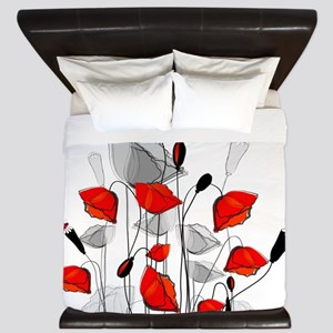 Beautiful Red Whimsical Poppies King Duvet