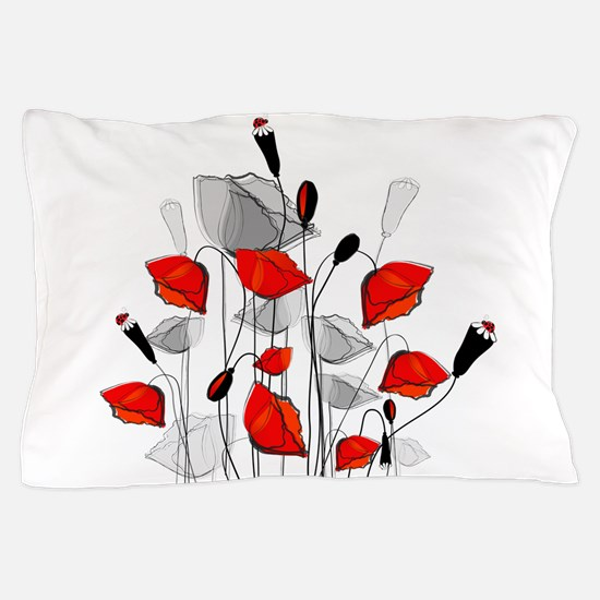 Beautiful Red Whimsical Poppies Pillow Case
