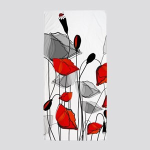 Beautiful Red Whimsical Poppies Beach Towel