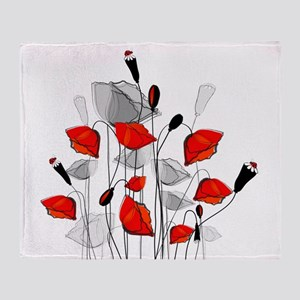 Beautiful Red Whimsical Poppies Throw Blanket