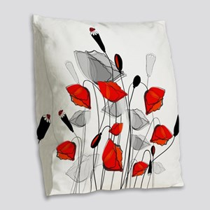 Beautiful Red Whimsical Poppie Burlap Throw Pillow