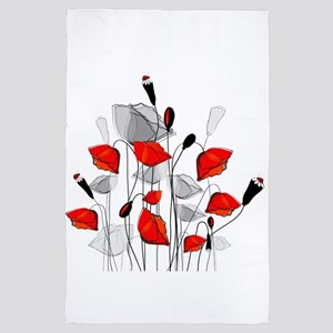 Beautiful Red Whimsical Poppies 4' x 6' Rug