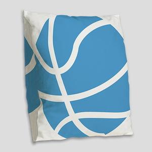 Basketball Carolina Blue Burlap Throw Pillow