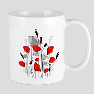 Beautiful Red Whimsical Poppies Mugs