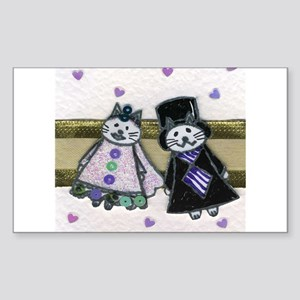 Bride and Groom Cats Rectangle Sticker