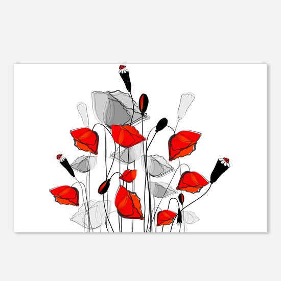 Beautiful Red Whimsical P Postcards (Package of 8)
