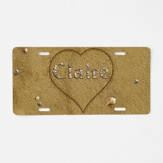 Claire Beach Love Aluminum License Plate
