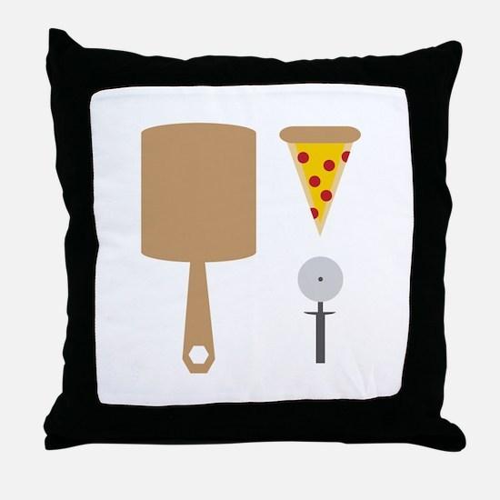Pizza Utensils Throw Pillow