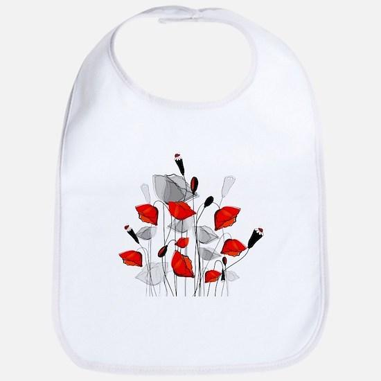 Beautiful Red Whimsical Poppies Bib