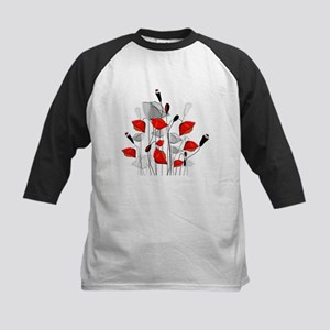 Beautiful Red Whimsical Poppies Baseball Jersey