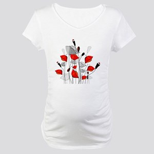 Beautiful Red Whimsical Poppies Maternity T-Shirt