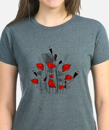 Beautiful Red Whimsical Poppies T-Shirt
