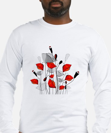 Beautiful Red Whimsical Poppie Long Sleeve T-Shirt