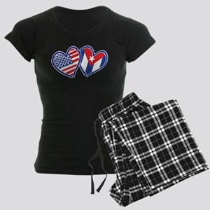 USA Cuba Patriotic Hearts Pajamas