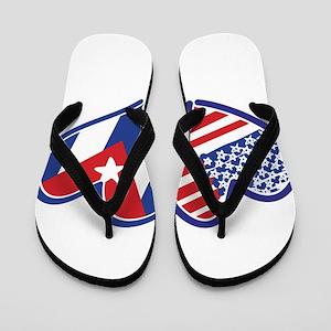 USA Cuba Patriotic Hearts Flip Flops