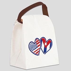 USA Cuba Patriotic Hearts Canvas Lunch Bag