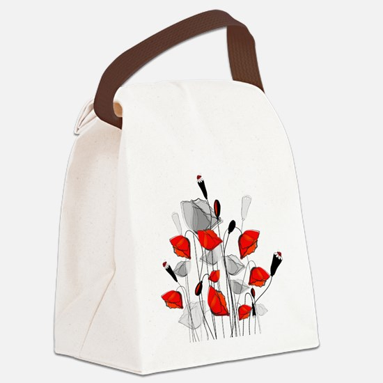 Beautiful Red Whimsical Poppies Canvas Lunch Bag