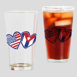 USA Cuba Patriotic Hearts Drinking Glass