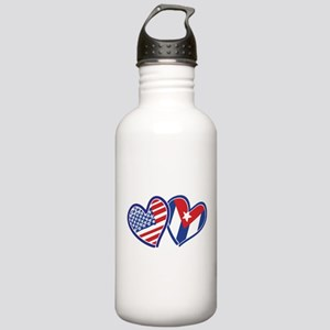 USA Cuba Patriotic Hearts Water Bottle