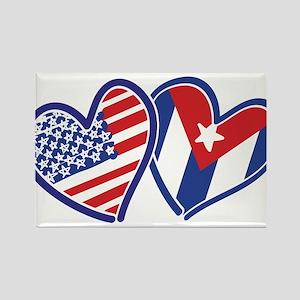 USA Cuba Patriotic Hearts Magnets