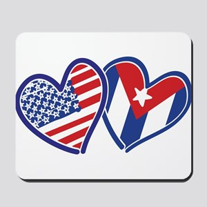 USA Cuba Patriotic Hearts Mousepad