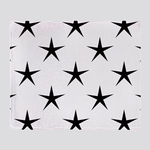 White and Black Star Pattern Throw Blanket