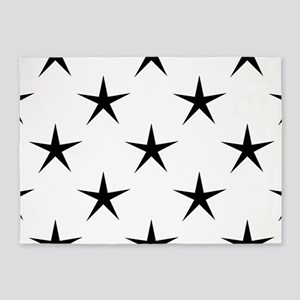 White and Black Star Pattern 5'x7'Area Rug