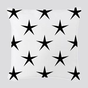 White and Black Star Pattern Woven Throw Pillow