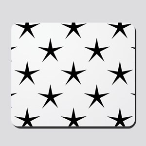 White and Black Star Pattern Mousepad