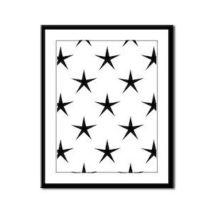 White and Black Star Pattern Framed Panel Print
