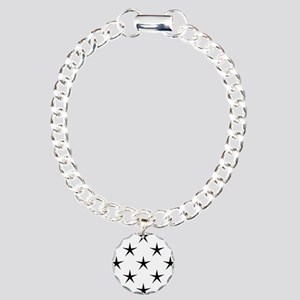 White and Black Star Pat Charm Bracelet, One Charm