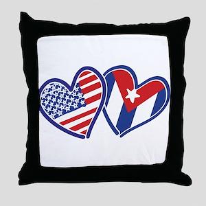 USA Cuba Patriotic Hearts Throw Pillow