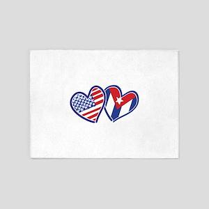 USA Cuba Patriotic Hearts 5'x7'Area Rug
