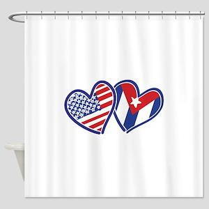 USA Cuba Patriotic Hearts Shower Curtain