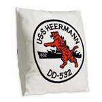 USS HEERMANN Burlap Throw Pillow